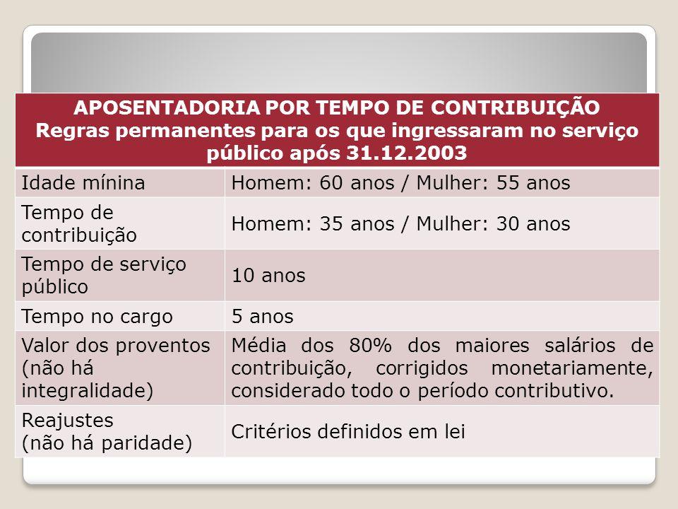 APOSENTADORIA POR TEMPO DE CONTRIBUIÇÃO Regras permanentes para os que ingressaram no serviço público após 31.12.2003 Idade míninaHomem: 60 anos / Mul