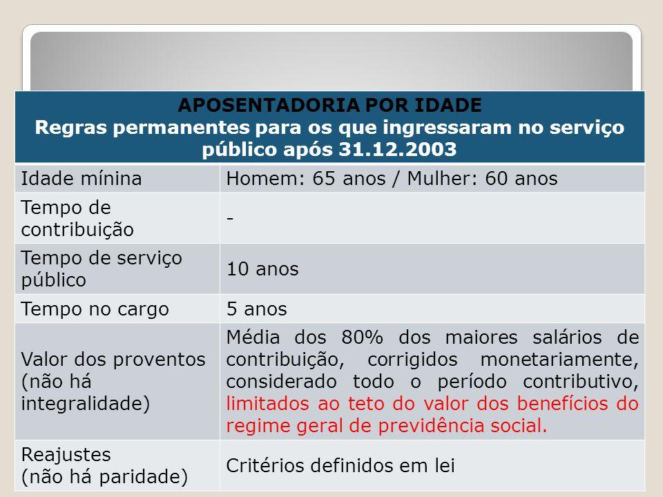 APOSENTADORIA POR IDADE Regras permanentes para os que ingressaram no serviço público após 31.12.2003 Idade míninaHomem: 65 anos / Mulher: 60 anos Tem