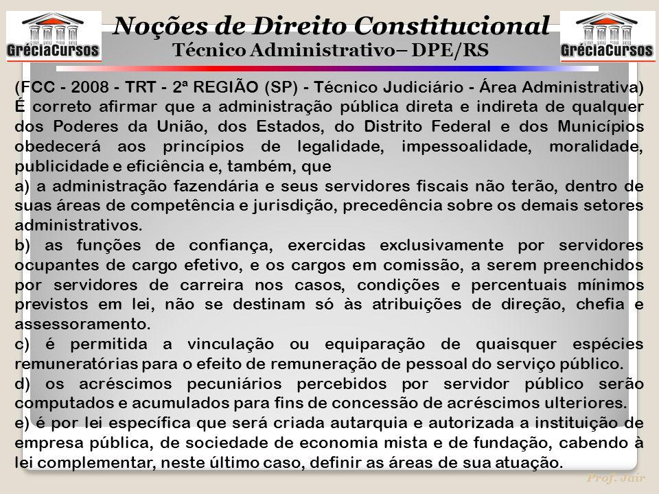 Noções de Direito Constitucional Técnico Administrativo– DPE/RS Prof. Jair (FCC - 2008 - TRT - 2ª REGIÃO (SP) - Técnico Judiciário - Área Administrati