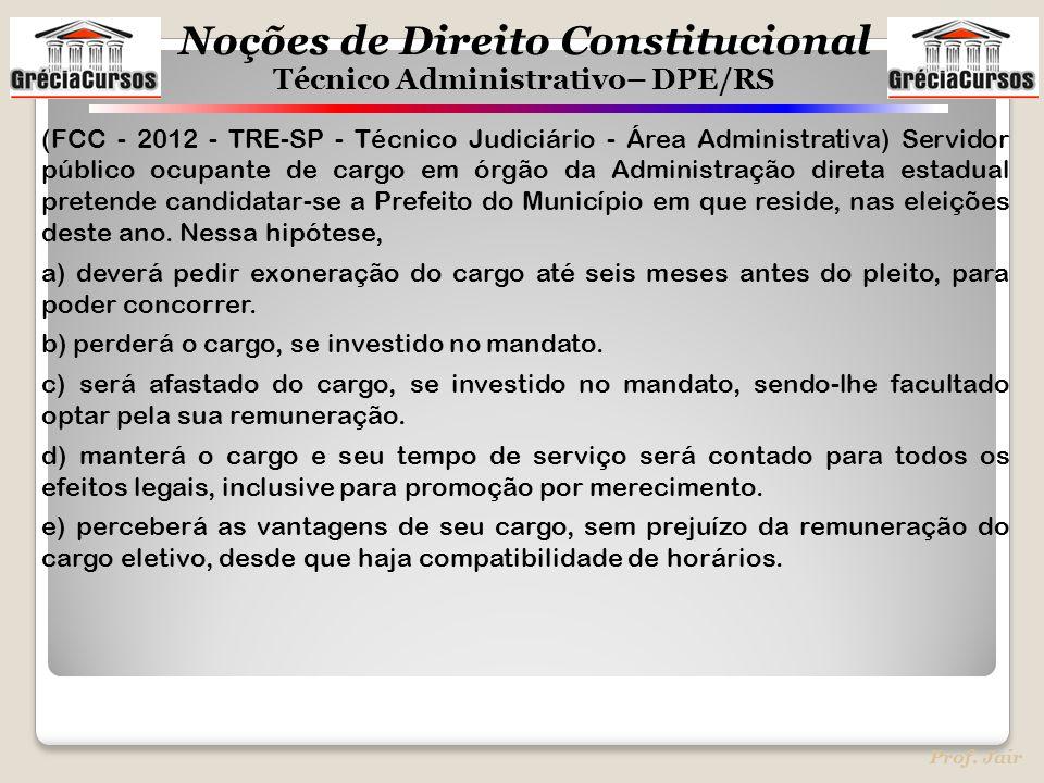 Noções de Direito Constitucional Técnico Administrativo– DPE/RS Prof. Jair (FCC - 2012 - TRE-SP - Técnico Judiciário - Área Administrativa) Servidor p