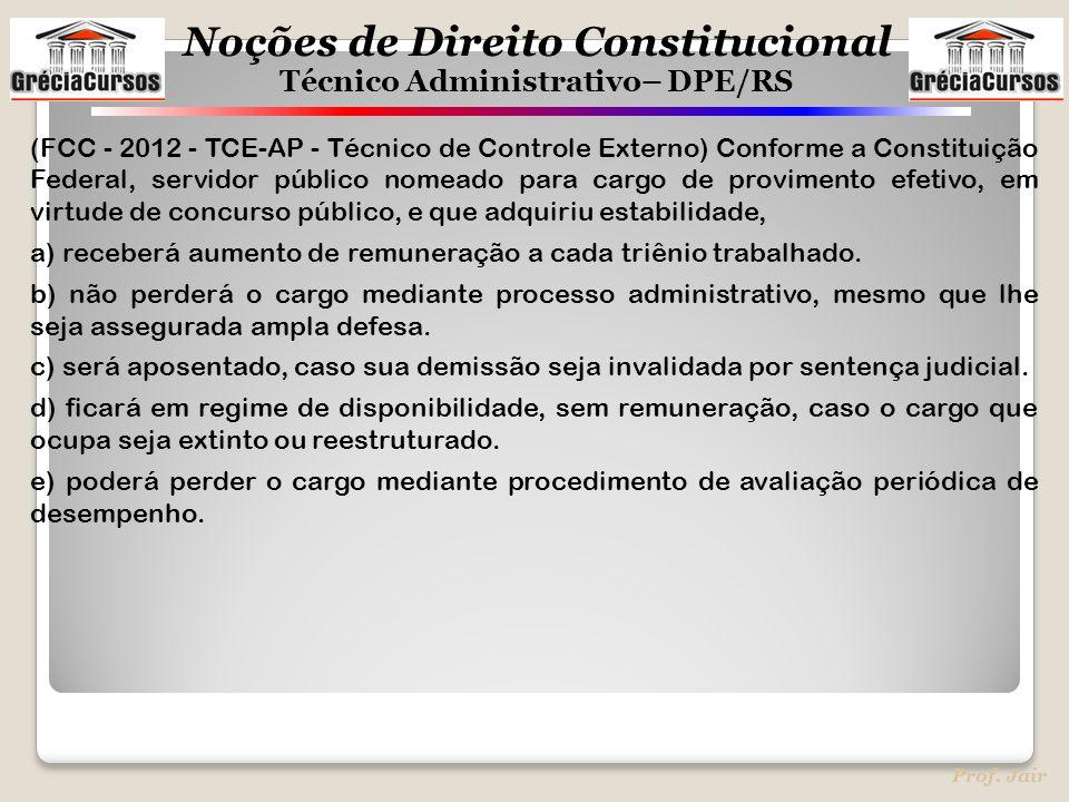 Noções de Direito Constitucional Técnico Administrativo– DPE/RS Prof. Jair (FCC - 2012 - TCE-AP - Técnico de Controle Externo) Conforme a Constituição