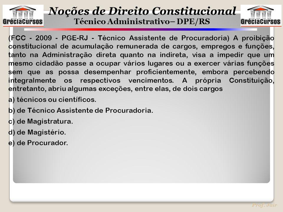 Noções de Direito Constitucional Técnico Administrativo– DPE/RS Prof. Jair (FCC - 2009 - PGE-RJ - Técnico Assistente de Procuradoria) A proibição cons