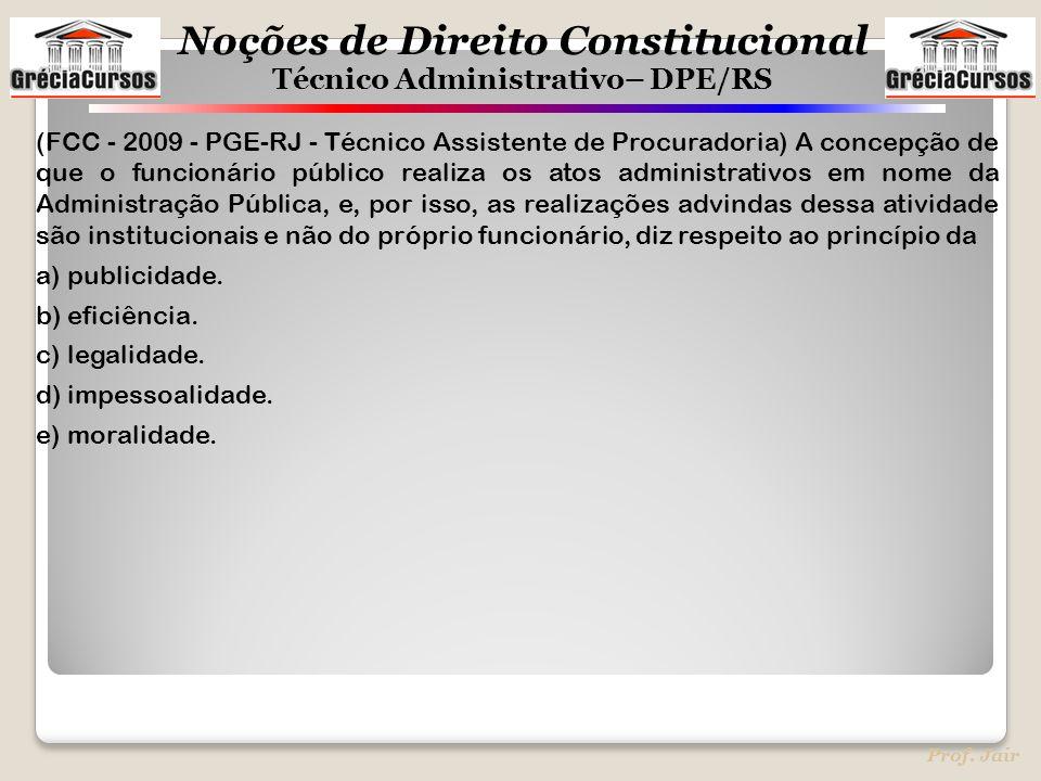 Noções de Direito Constitucional Técnico Administrativo– DPE/RS Prof. Jair (FCC - 2009 - PGE-RJ - Técnico Assistente de Procuradoria) A concepção de q