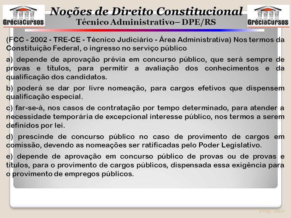 Noções de Direito Constitucional Técnico Administrativo– DPE/RS Prof. Jair (FCC - 2002 - TRE-CE - Técnico Judiciário - Área Administrativa) Nos termos