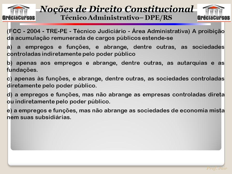 Noções de Direito Constitucional Técnico Administrativo– DPE/RS Prof. Jair (FCC - 2004 - TRE-PE - Técnico Judiciário - Área Administrativa) A proibiçã