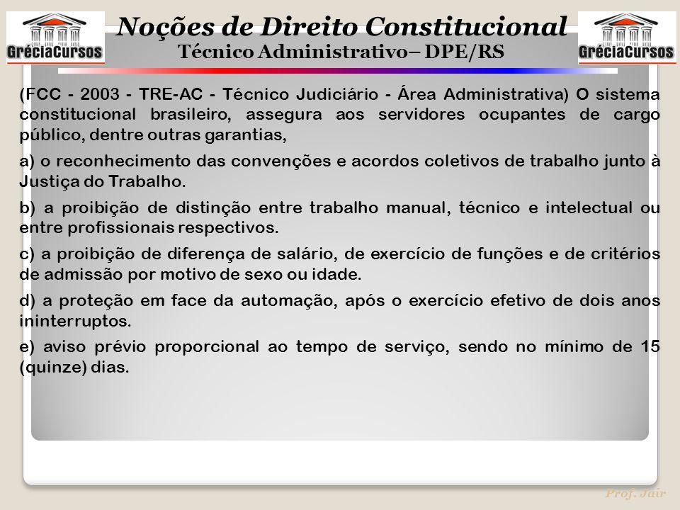 Noções de Direito Constitucional Técnico Administrativo– DPE/RS Prof. Jair (FCC - 2003 - TRE-AC - Técnico Judiciário - Área Administrativa) O sistema