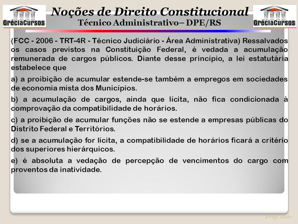 Noções de Direito Constitucional Técnico Administrativo– DPE/RS Prof. Jair (FCC - 2006 - TRT-4R - Técnico Judiciário - Área Administrativa) Ressalvado