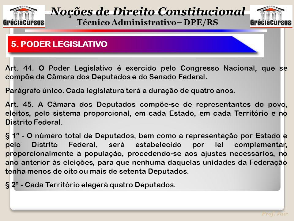 Noções de Direito Constitucional Técnico Administrativo– DPE/RS Prof. Jair 5. PODER LEGISLATIVO Art. 44. O Poder Legislativo é exercido pelo Congresso