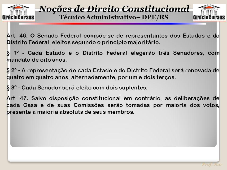 Noções de Direito Constitucional Técnico Administrativo– DPE/RS Prof. Jair Art. 46. O Senado Federal compõe-se de representantes dos Estados e do Dist