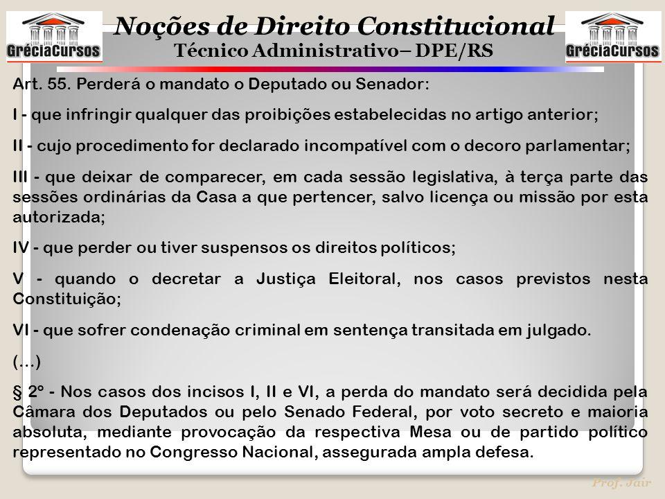 Noções de Direito Constitucional Técnico Administrativo– DPE/RS Prof. Jair Art. 55. Perderá o mandato o Deputado ou Senador: I - que infringir qualque