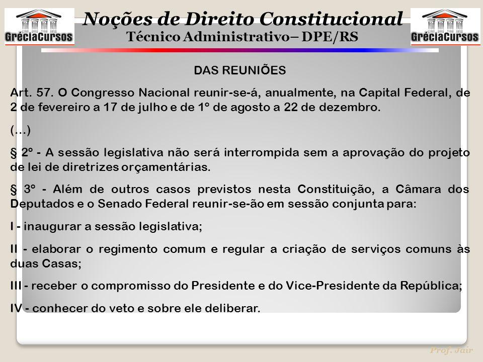 Noções de Direito Constitucional Técnico Administrativo– DPE/RS Prof. Jair DAS REUNIÕES Art. 57. O Congresso Nacional reunir-se-á, anualmente, na Capi