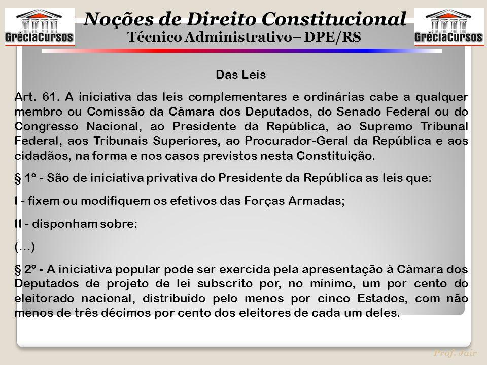 Noções de Direito Constitucional Técnico Administrativo– DPE/RS Prof. Jair Das Leis Art. 61. A iniciativa das leis complementares e ordinárias cabe a