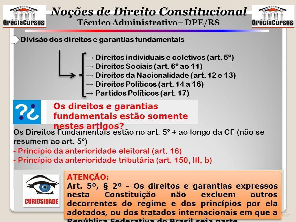 Noções de Direito Constitucional Técnico Administrativo– DPE/RS Prof. Jair Divisão dos direitos e garantias fundamentais → Direitos individuais e cole