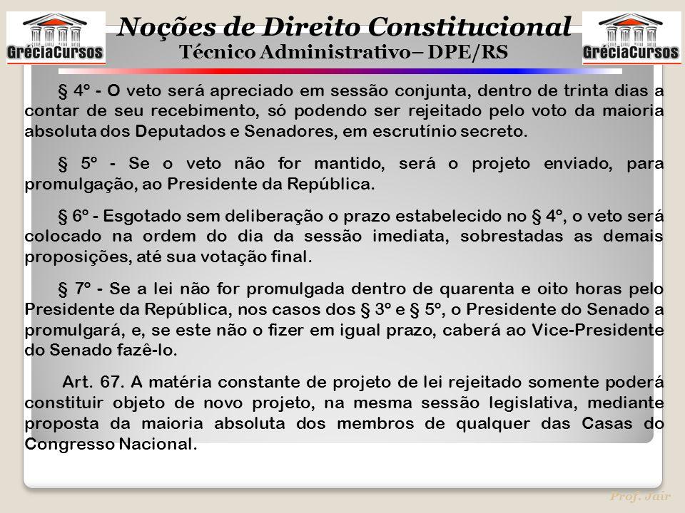Noções de Direito Constitucional Técnico Administrativo– DPE/RS Prof. Jair § 4º - O veto será apreciado em sessão conjunta, dentro de trinta dias a co