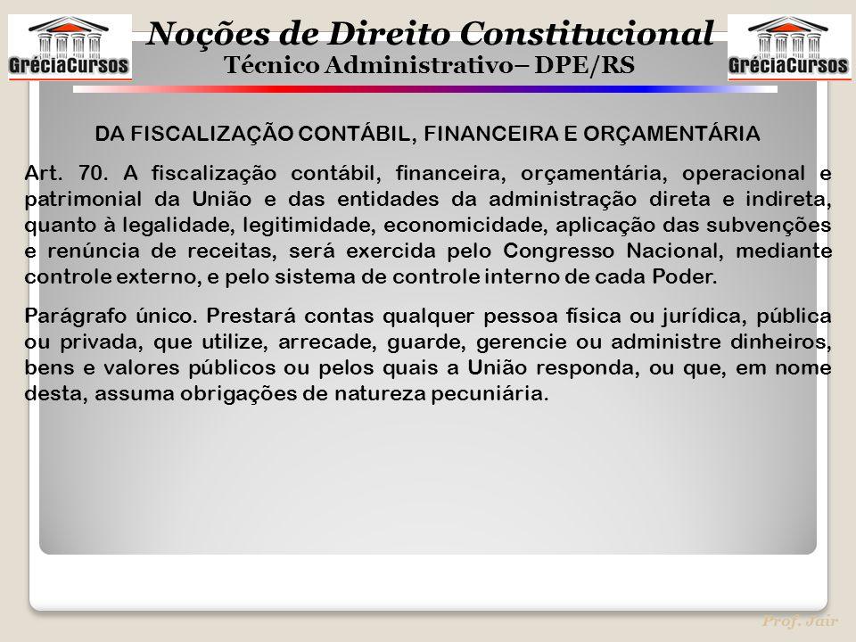 Noções de Direito Constitucional Técnico Administrativo– DPE/RS Prof. Jair DA FISCALIZAÇÃO CONTÁBIL, FINANCEIRA E ORÇAMENTÁRIA Art. 70. A fiscalização