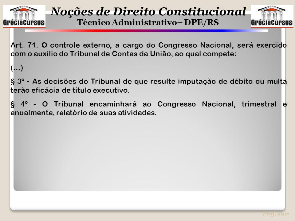 Noções de Direito Constitucional Técnico Administrativo– DPE/RS Prof. Jair Art. 71. O controle externo, a cargo do Congresso Nacional, será exercido c