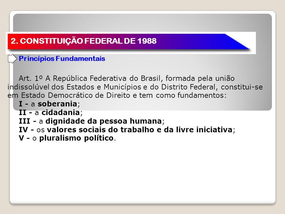 2. CONSTITUIÇÃO FEDERAL DE 1988 Princípios Fundamentais Art. 1º A República Federativa do Brasil, formada pela união indissolúvel dos Estados e Municí