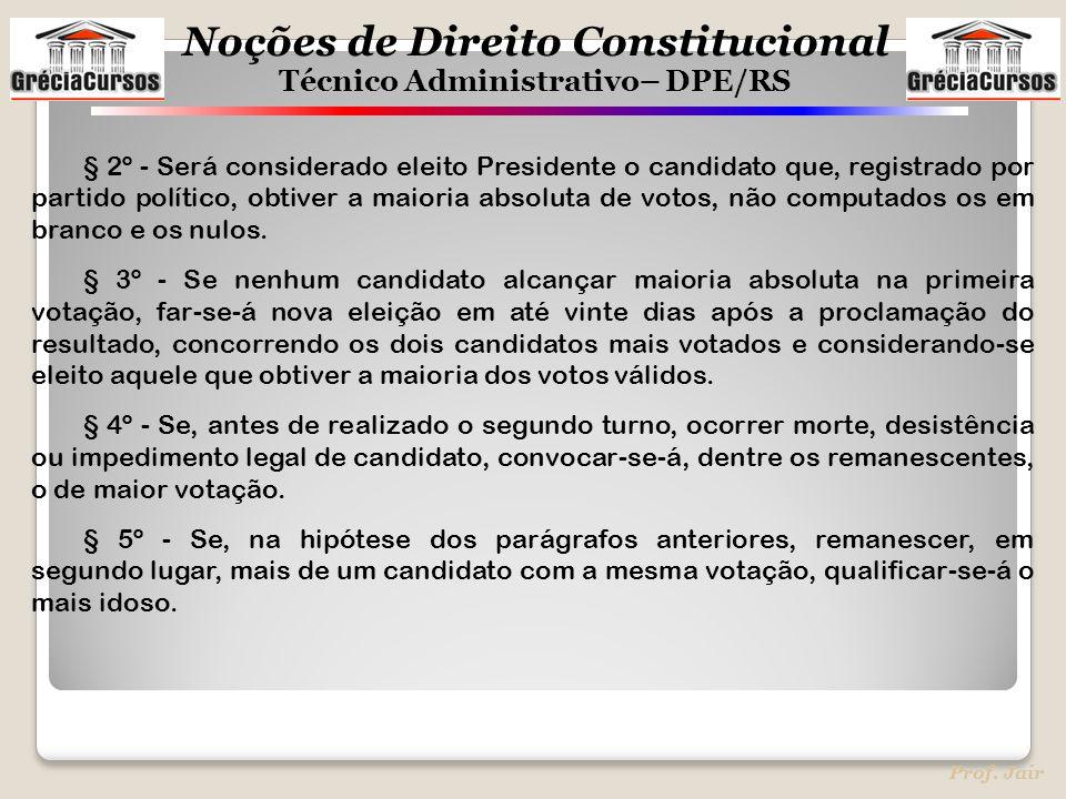 Noções de Direito Constitucional Técnico Administrativo– DPE/RS Prof. Jair § 2º - Será considerado eleito Presidente o candidato que, registrado por p