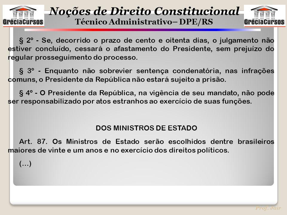 Noções de Direito Constitucional Técnico Administrativo– DPE/RS Prof. Jair § 2º - Se, decorrido o prazo de cento e oitenta dias, o julgamento não esti