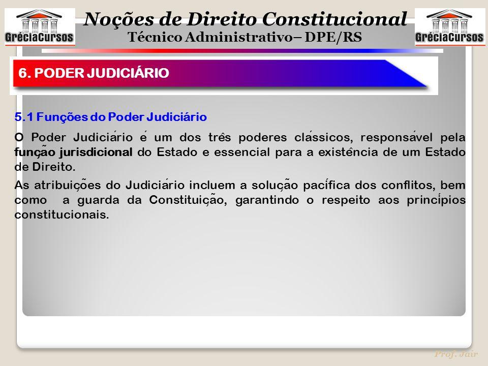 Noções de Direito Constitucional Técnico Administrativo– DPE/RS Prof. Jair 5.1 Funções do Poder Judiciário O Poder Judiciario e um dos tre ̂ s poderes