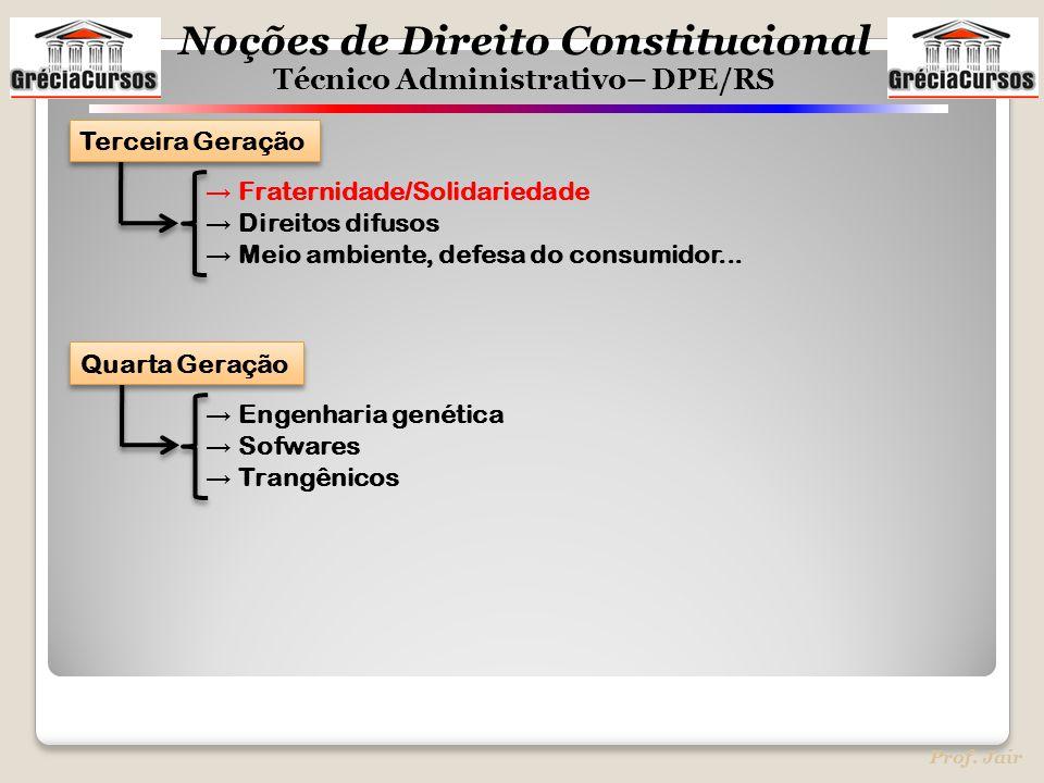 Noções de Direito Constitucional Técnico Administrativo– DPE/RS Prof. Jair → Fraternidade/Solidariedade → Direitos difusos → Meio ambiente, defesa do