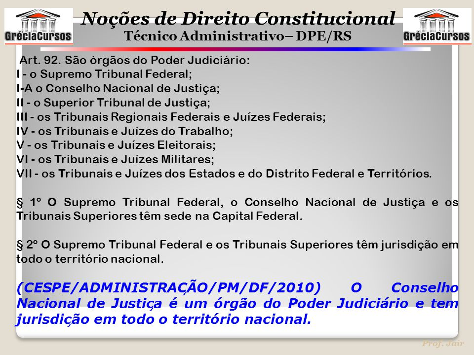 Noções de Direito Constitucional Técnico Administrativo– DPE/RS Prof. Jair Art. 92. São órgãos do Poder Judiciário: I - o Supremo Tribunal Federal; I-