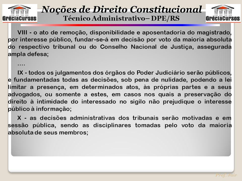 Noções de Direito Constitucional Técnico Administrativo– DPE/RS Prof. Jair VIII - o ato de remoção, disponibilidade e aposentadoria do magistrado, por