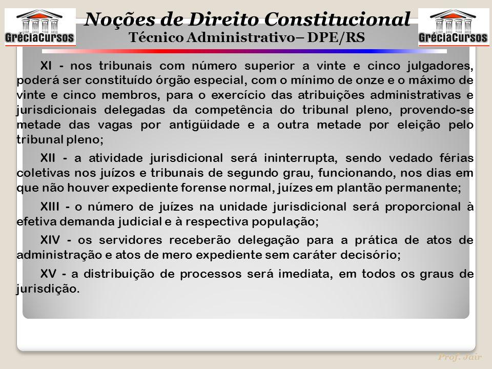 Noções de Direito Constitucional Técnico Administrativo– DPE/RS Prof. Jair XI - nos tribunais com número superior a vinte e cinco julgadores, poderá s