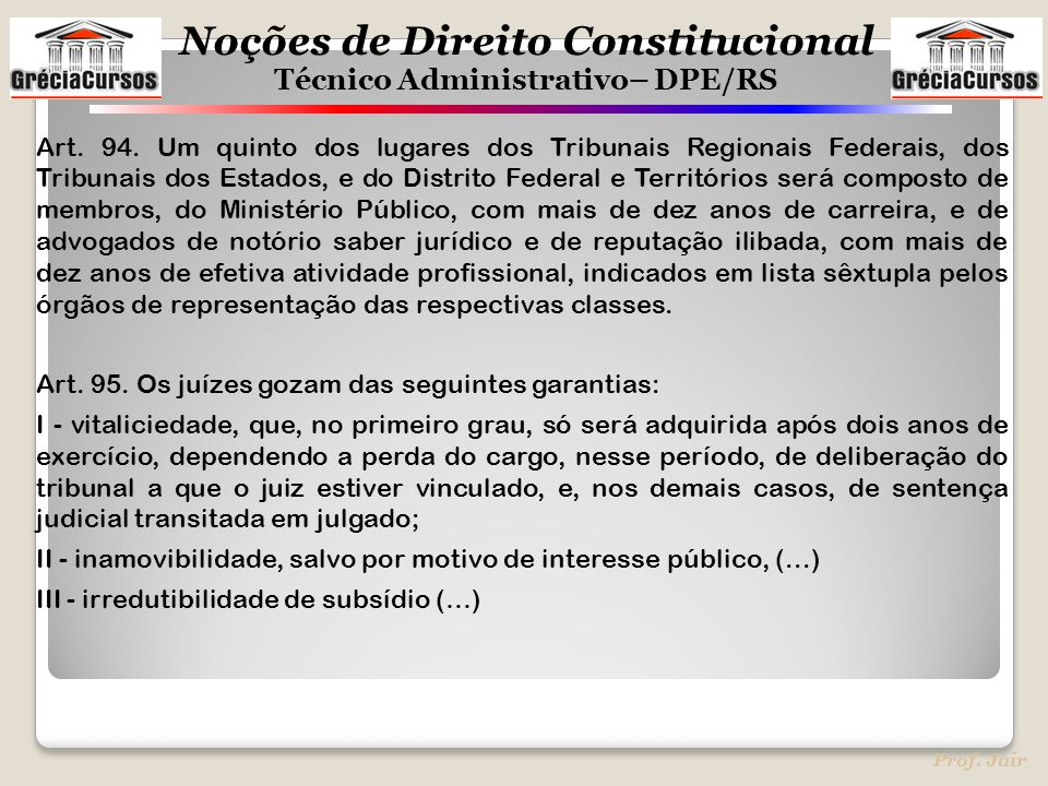 Noções de Direito Constitucional Técnico Administrativo– DPE/RS Prof. Jair Art. 94. Um quinto dos lugares dos Tribunais Regionais Federais, dos Tribun