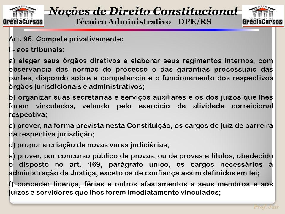 Noções de Direito Constitucional Técnico Administrativo– DPE/RS Prof. Jair Art. 96. Compete privativamente: I - aos tribunais: a) eleger seus órgãos d
