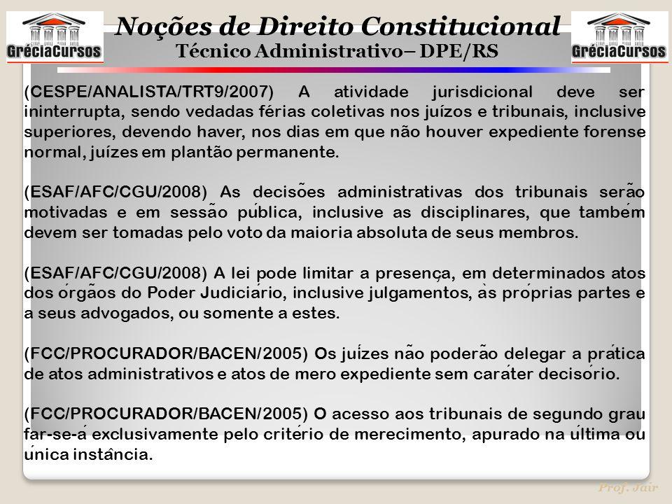 Noções de Direito Constitucional Técnico Administrativo– DPE/RS Prof. Jair (CESPE/ANALISTA/TRT9/2007) A atividade jurisdicional deve ser ininterrupta,