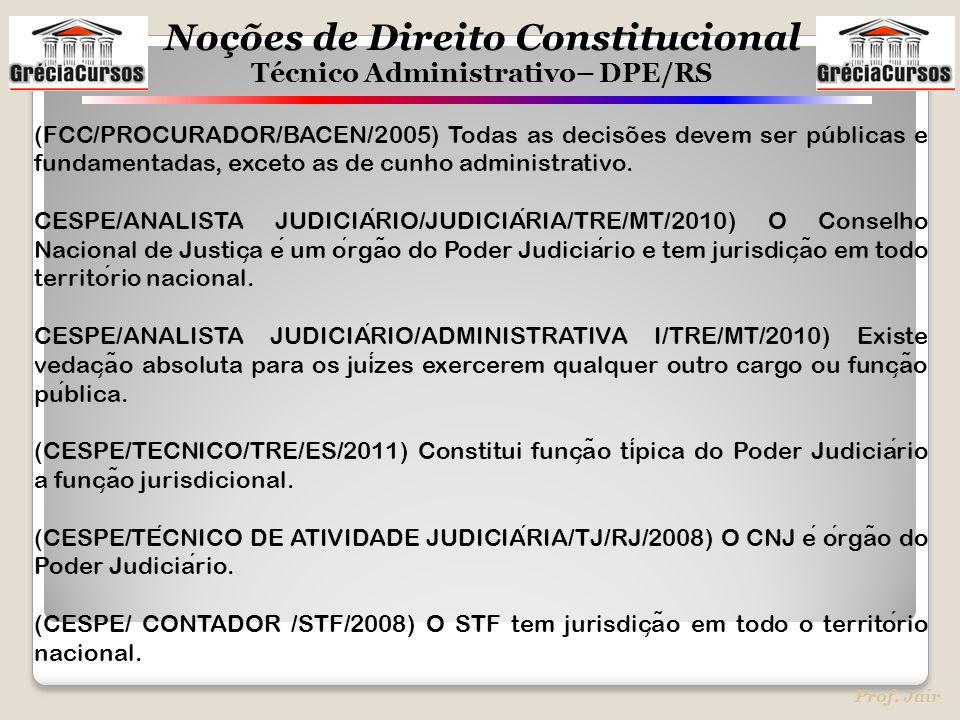 Noções de Direito Constitucional Técnico Administrativo– DPE/RS Prof. Jair (FCC/PROCURADOR/BACEN/2005) Todas as decisões devem ser públicas e fundamen