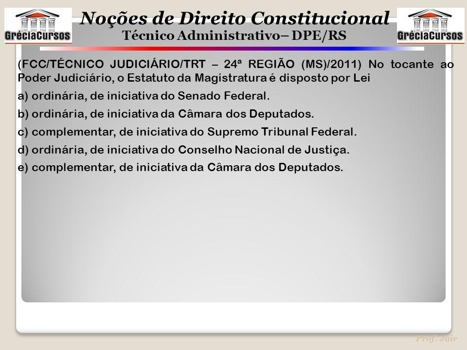 Noções de Direito Constitucional Técnico Administrativo– DPE/RS Prof. Jair (FCC/TÉCNICO JUDICIÁRIO/TRT – 24ª REGIÃO (MS)/2011) No tocante ao Poder Jud