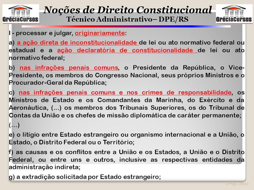 Noções de Direito Constitucional Técnico Administrativo– DPE/RS Prof. Jair I - processar e julgar, originariamente: a) a ação direta de inconstitucion