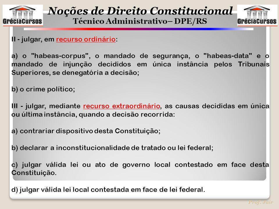 Noções de Direito Constitucional Técnico Administrativo– DPE/RS Prof. Jair II - julgar, em recurso ordinário: a) o
