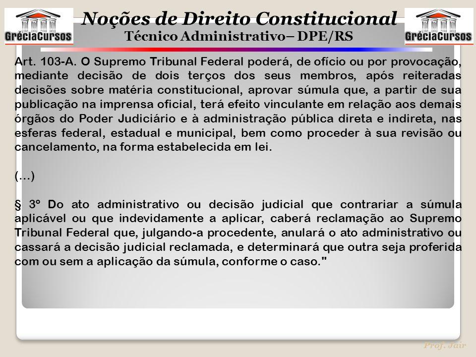 Noções de Direito Constitucional Técnico Administrativo– DPE/RS Prof. Jair Art. 103-A. O Supremo Tribunal Federal poderá, de ofício ou por provocação,