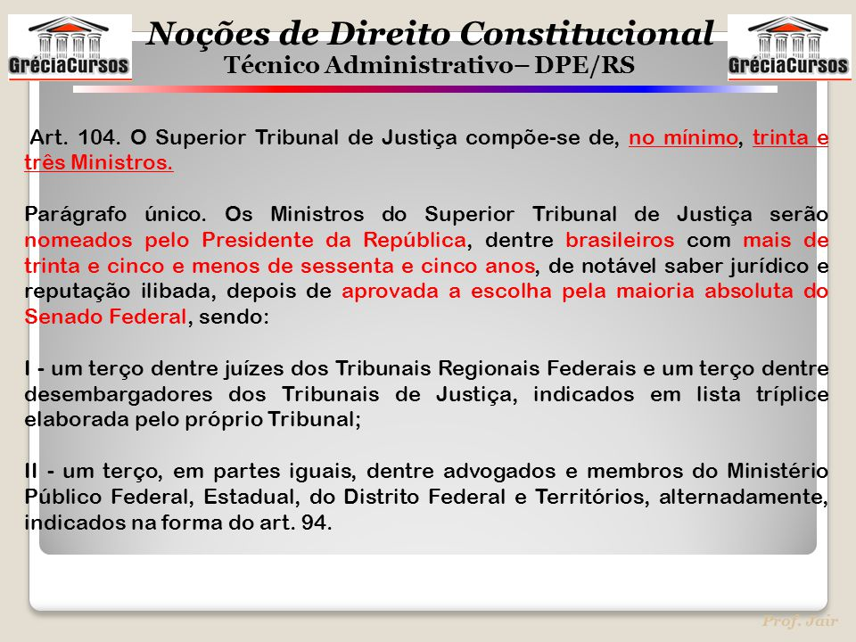 Noções de Direito Constitucional Técnico Administrativo– DPE/RS Prof. Jair Art. 104. O Superior Tribunal de Justiça compõe-se de, no mínimo, trinta e