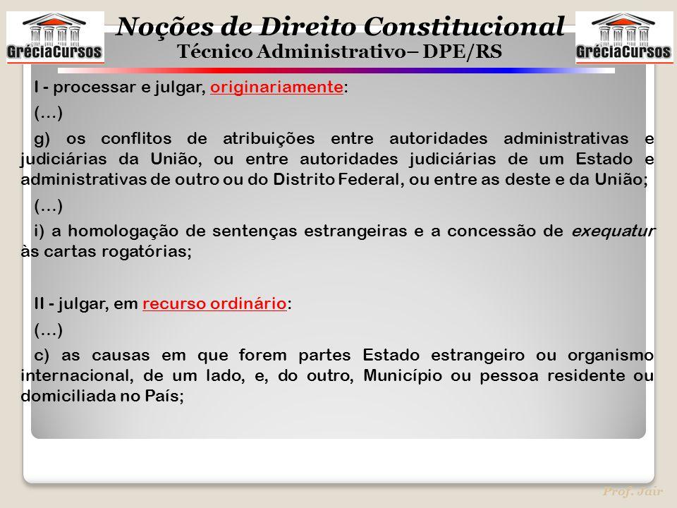 Noções de Direito Constitucional Técnico Administrativo– DPE/RS Prof. Jair I - processar e julgar, originariamente: (...) g) os conflitos de atribuiçõ