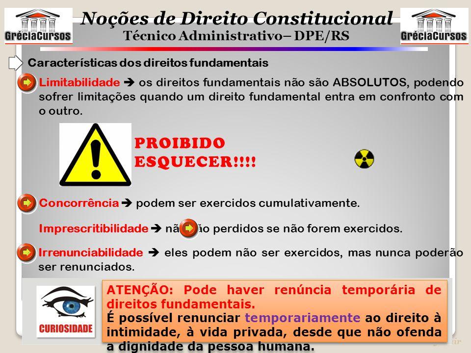 Noções de Direito Constitucional Técnico Administrativo– DPE/RS Prof. Jair Limitabilidade  os direitos fundamentais não são ABSOLUTOS, podendo sofrer