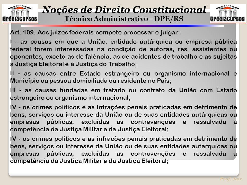 Noções de Direito Constitucional Técnico Administrativo– DPE/RS Prof. Jair Art. 109. Aos juízes federais compete processar e julgar: I - as causas em