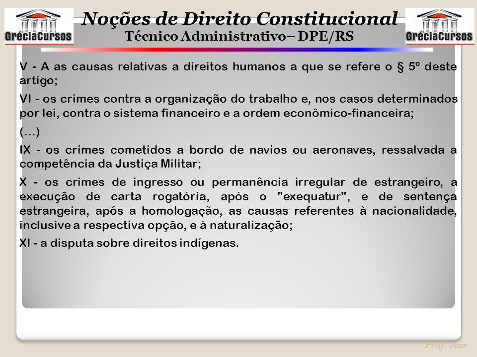 Noções de Direito Constitucional Técnico Administrativo– DPE/RS Prof. Jair V - A as causas relativas a direitos humanos a que se refere o § 5º deste a