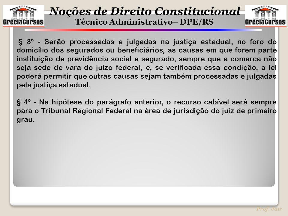 Noções de Direito Constitucional Técnico Administrativo– DPE/RS Prof. Jair § 3º - Serão processadas e julgadas na justiça estadual, no foro do domicíl