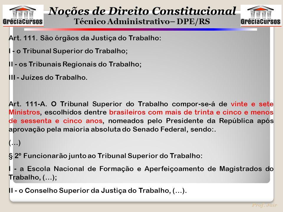 Noções de Direito Constitucional Técnico Administrativo– DPE/RS Prof. Jair Art. 111. São órgãos da Justiça do Trabalho: I - o Tribunal Superior do Tra