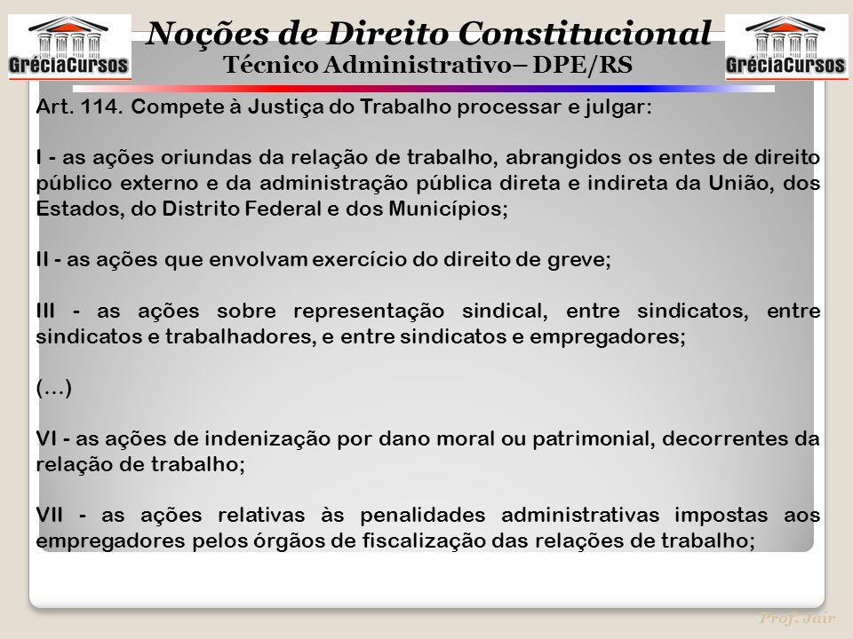 Noções de Direito Constitucional Técnico Administrativo– DPE/RS Prof. Jair Art. 114. Compete à Justiça do Trabalho processar e julgar: I - as ações or