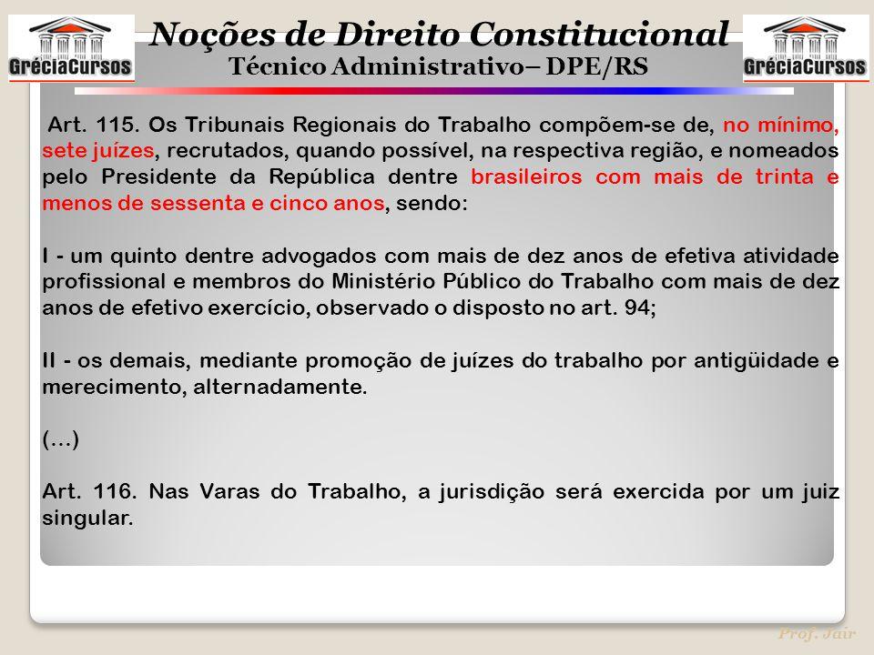 Noções de Direito Constitucional Técnico Administrativo– DPE/RS Prof. Jair Art. 115. Os Tribunais Regionais do Trabalho compõem-se de, no mínimo, sete