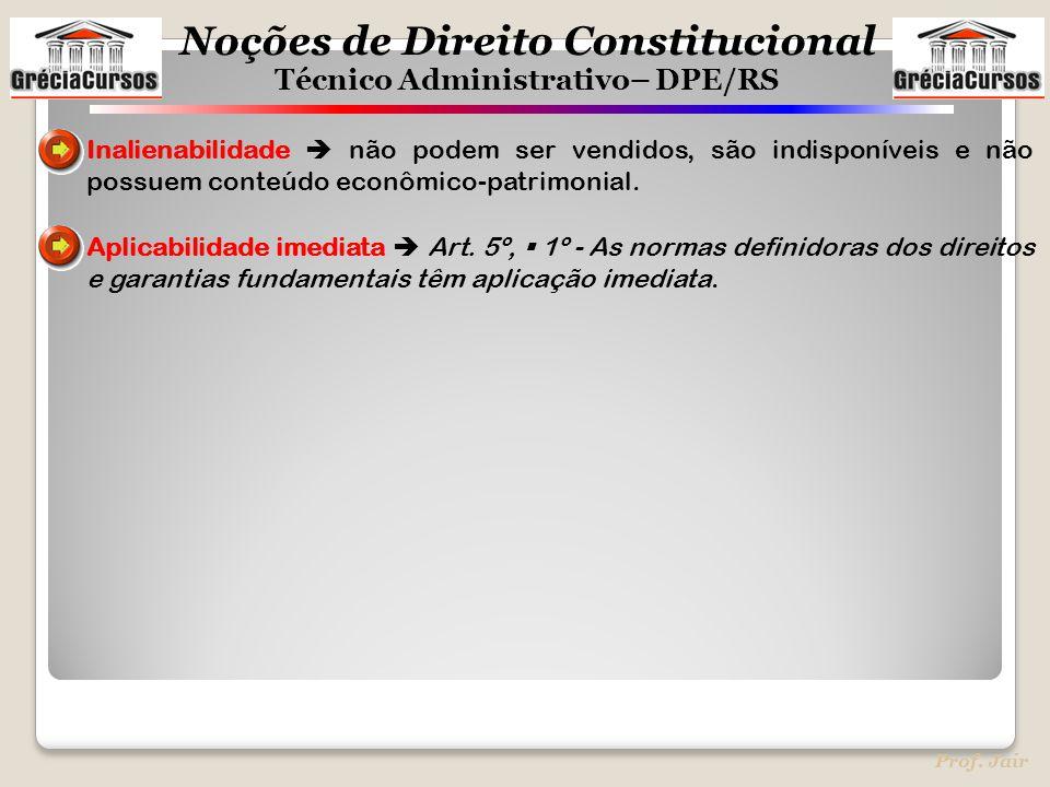 Noções de Direito Constitucional Técnico Administrativo– DPE/RS Prof. Jair Inalienabilidade  não podem ser vendidos, são indisponíveis e não possuem