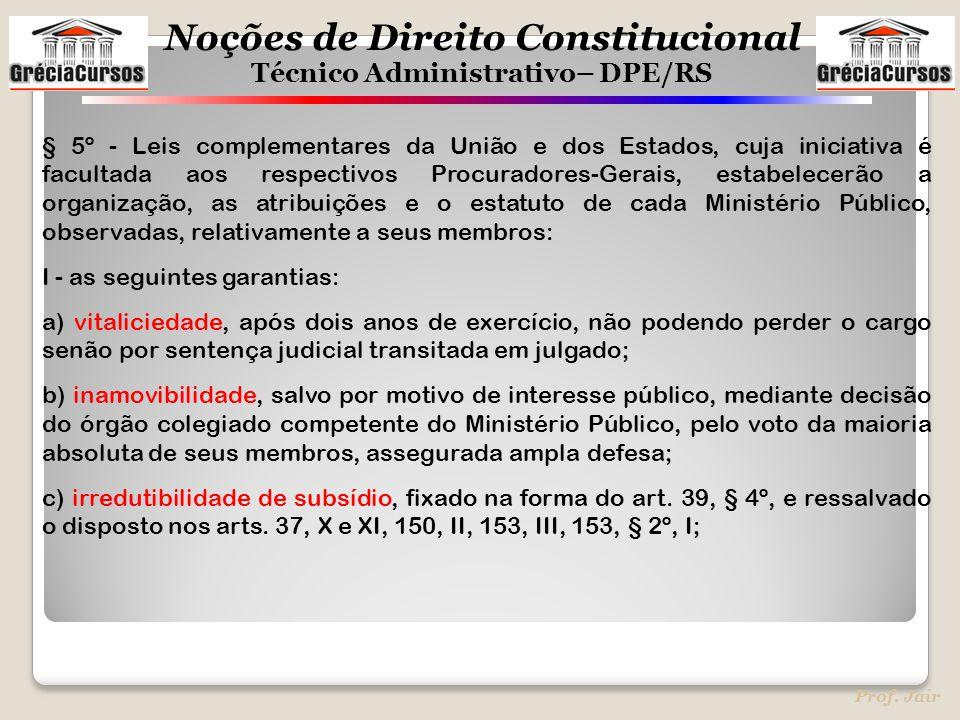 Noções de Direito Constitucional Técnico Administrativo– DPE/RS Prof. Jair § 5º - Leis complementares da União e dos Estados, cuja iniciativa é facult