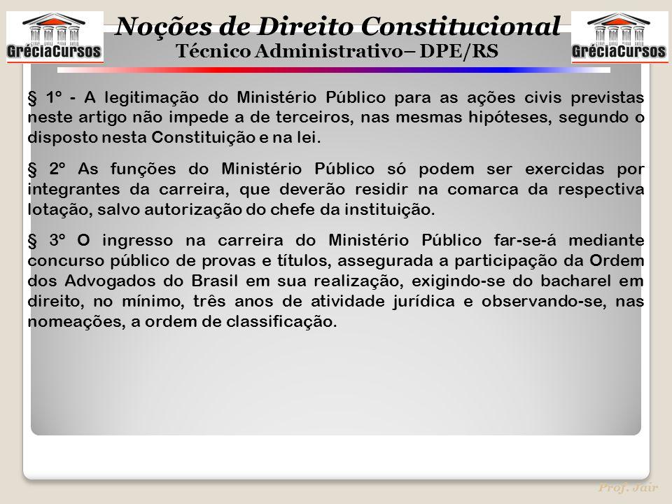 Noções de Direito Constitucional Técnico Administrativo– DPE/RS Prof. Jair § 1º - A legitimação do Ministério Público para as ações civis previstas ne