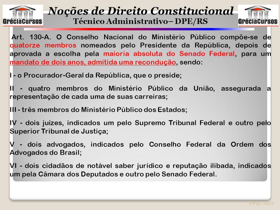 Noções de Direito Constitucional Técnico Administrativo– DPE/RS Prof. Jair Art. 130-A. O Conselho Nacional do Ministério Público compõe-se de quatorze