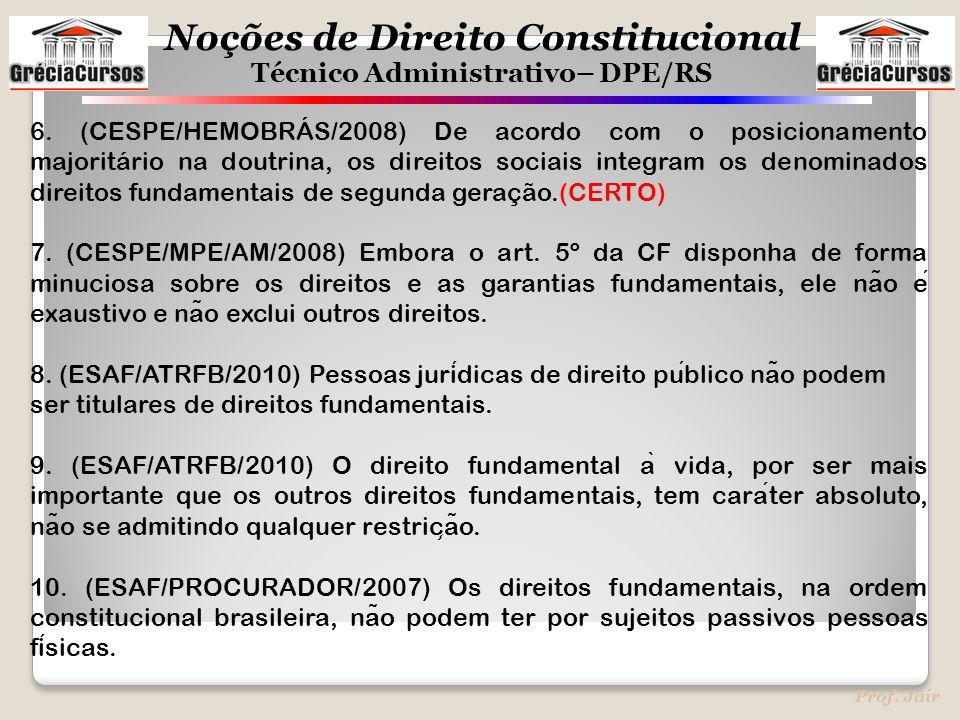 Noções de Direito Constitucional Técnico Administrativo– DPE/RS Prof. Jair 6. (CESPE/HEMOBRÁS/2008) De acordo com o posicionamento majoritário na dout